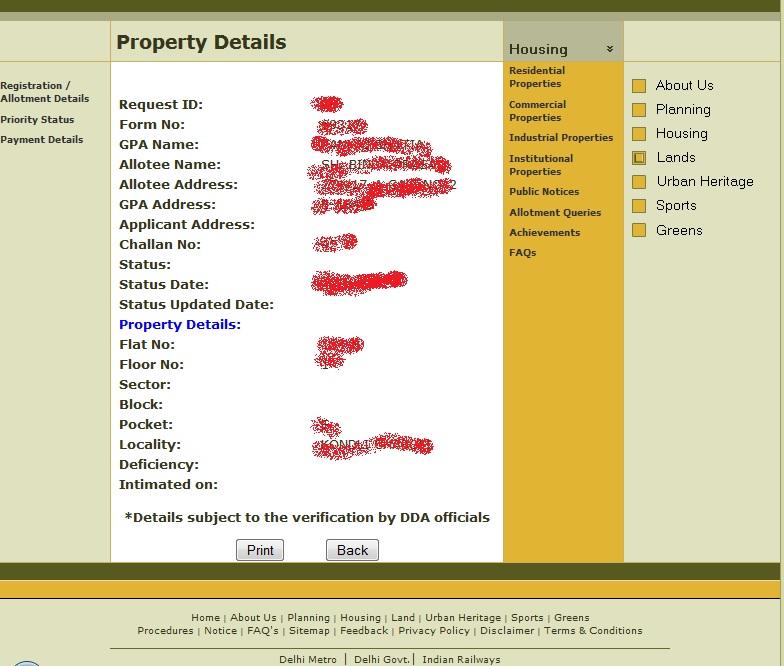 DDA Flats Conversion Status Details