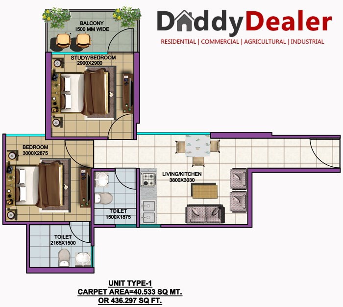 SRS Palm Homes Floor Plan Unit 1