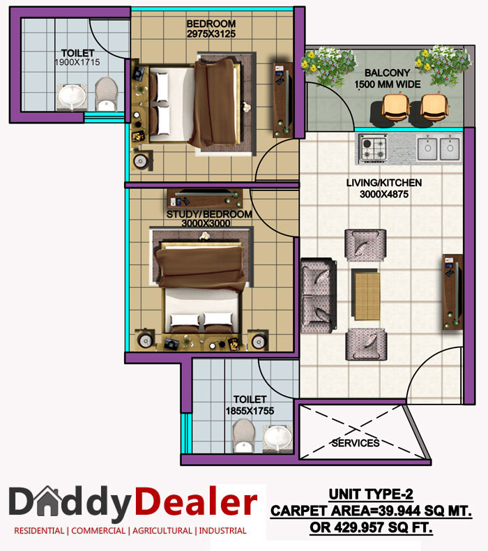 SRS Palm Homes Floor Plan Unit 2