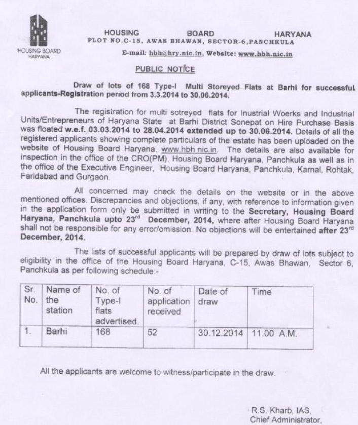 Housing Board Haryana Barhi Flats Draw