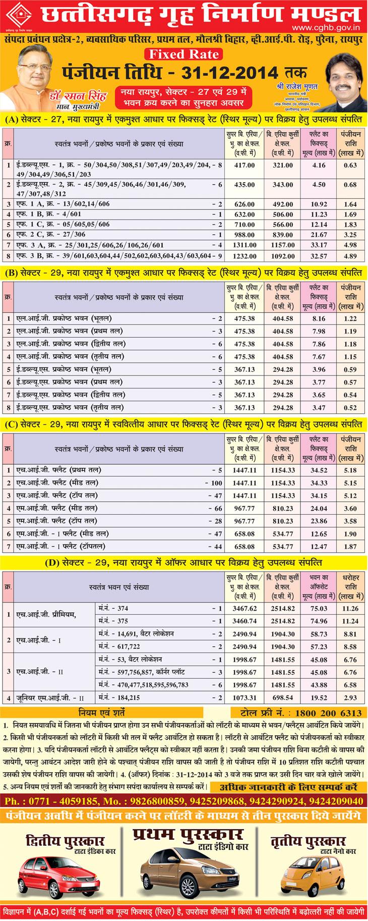 Chhattisgarh Housing Board New Housing Scheme Naya Raipur Sector 29 & 27