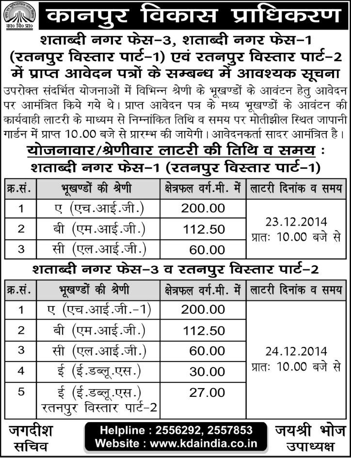 Kda Shatabdi Nagar Ratanpur Vistar Plot Scheme Draw Result
