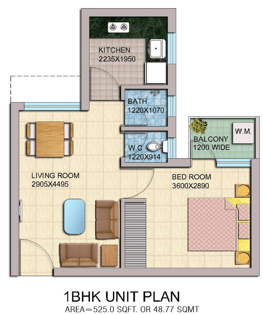 yeida bhs 05 1bhk flat floor plan master plans india