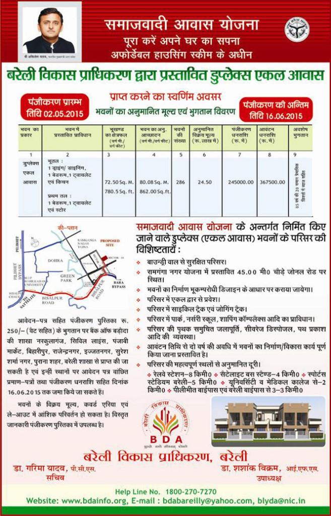 BDA Extend Last Date of Samajwadi Awas Yojna 2015