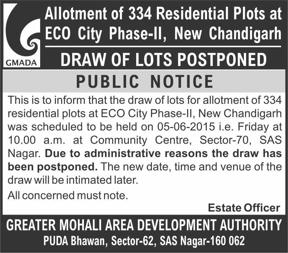 GMADA Postponed Draw Result Eco City Phase-2