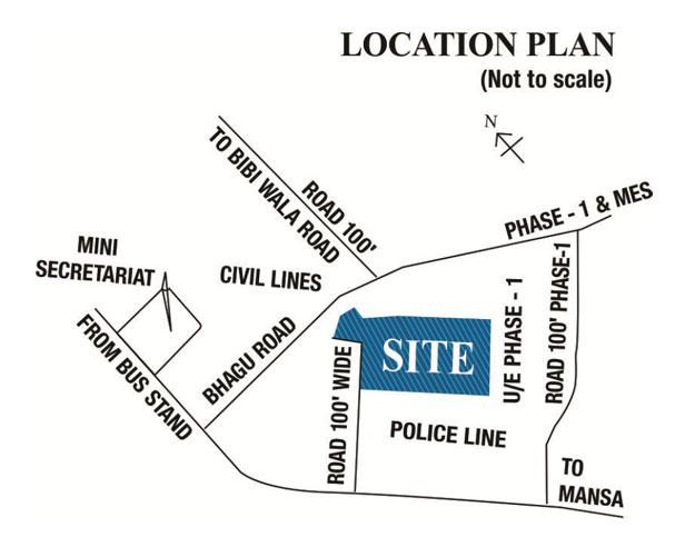 PUDA Bathinda Residential Plot Scheme Location Map