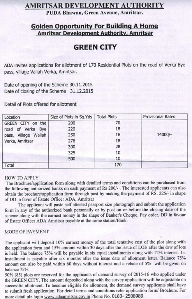 ADA Green City Residential Plot Scheme 2015-16 Scheme