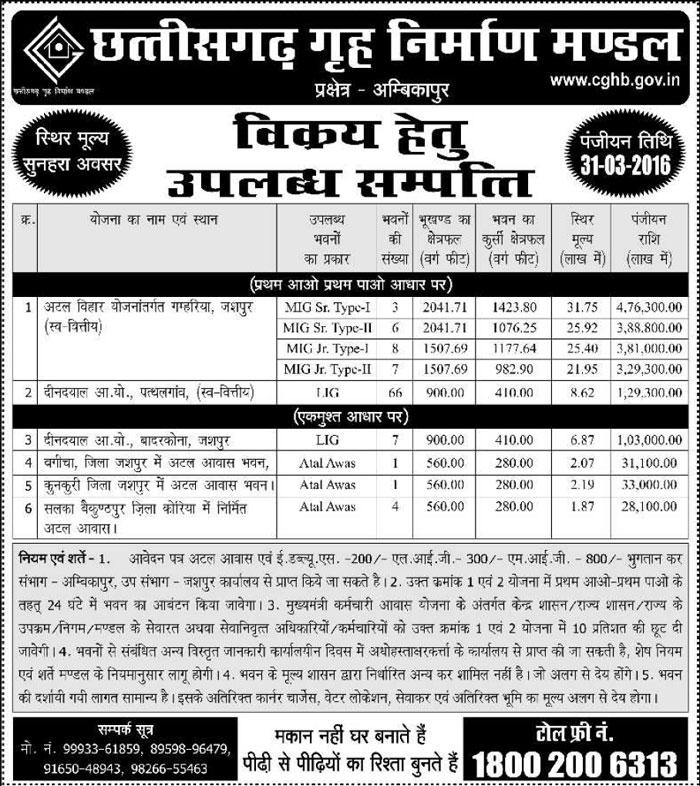 CGHB Ambikapur Housing Scheme 2016