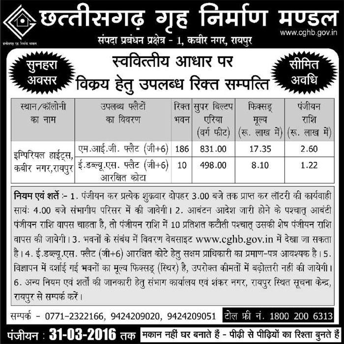 CGHB Kabir Nagar Housing Scheme 2016