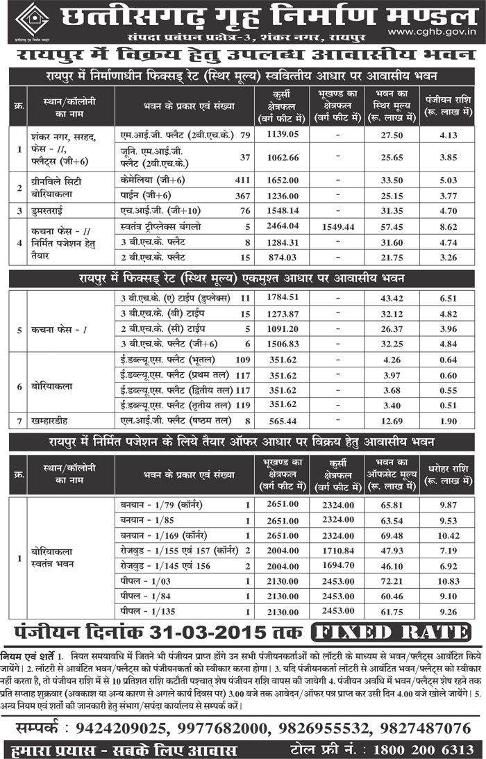 CGHB Shankar Nagar Housing Scheme 2016