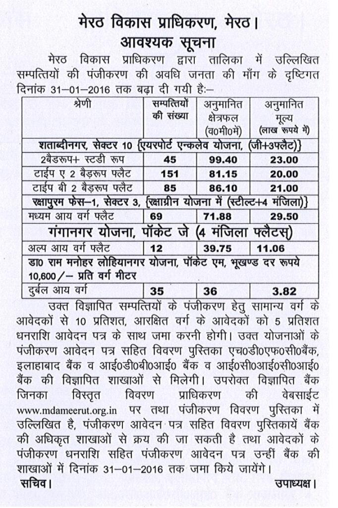 MDA Meerut Extended Last Date of 3 Housing Scheme 2015
