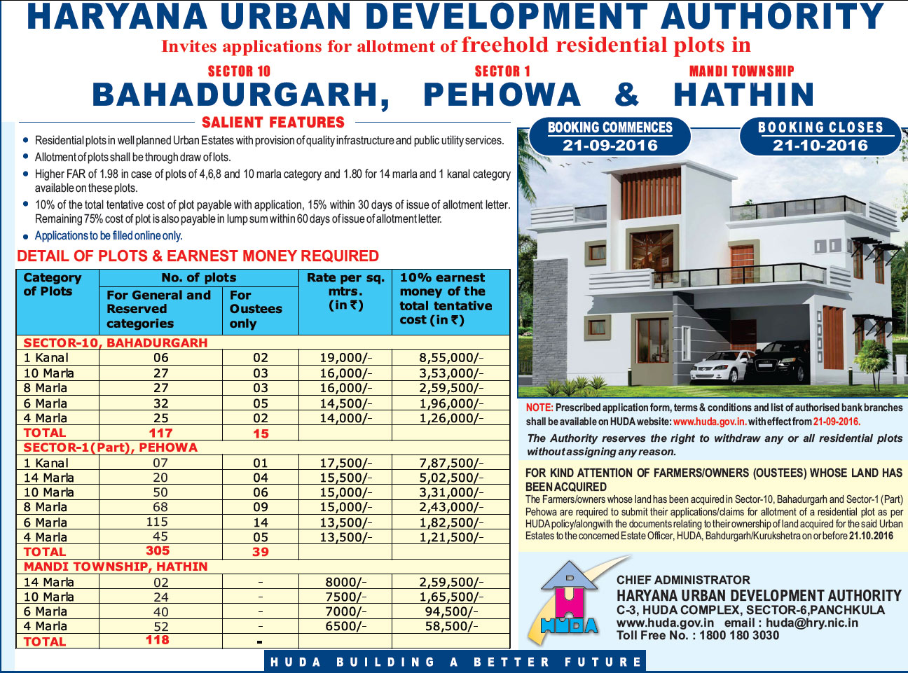 HUDA New Freehold Plot Scheme 2016 Scheme Advertisement