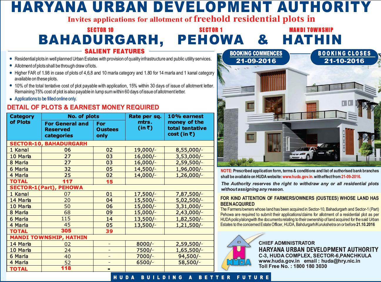 Huda bahadurgarh sector 10 residential plots scheme