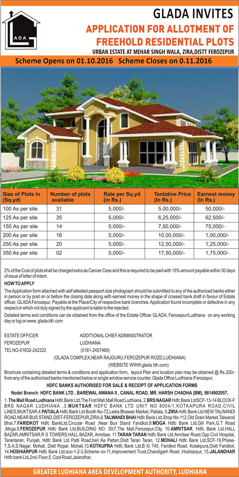 GLADA Freehold Residential Plots 2016 Ferozpur