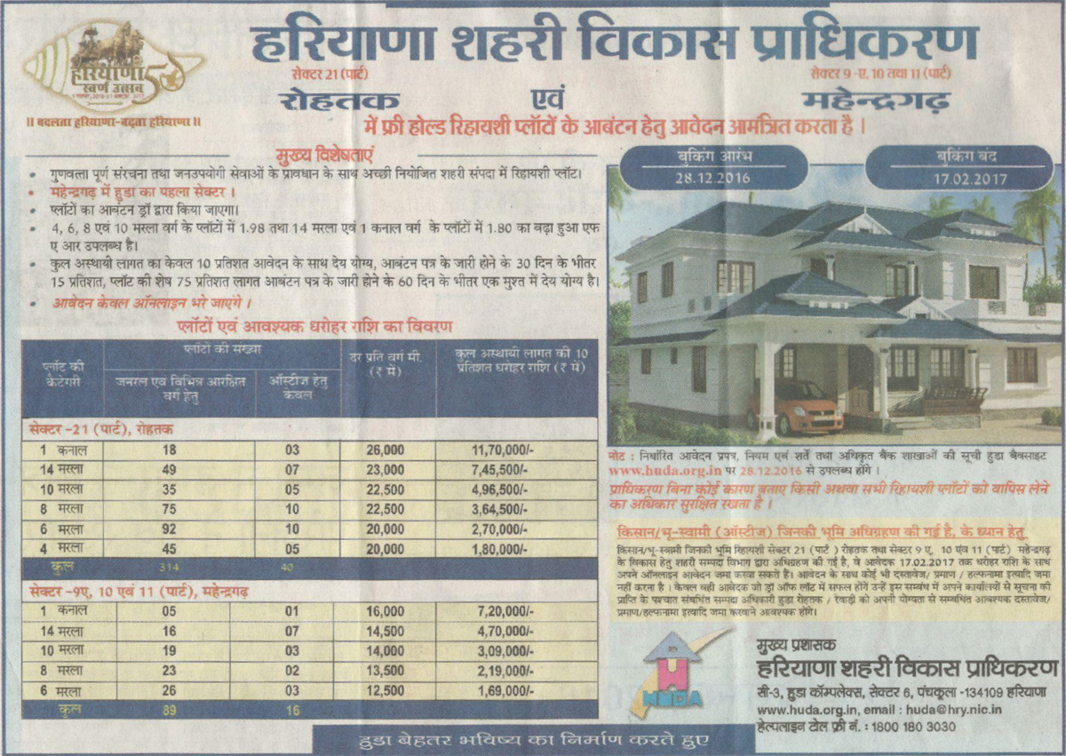 HUDA Rohtak Mahendragarh Plot Scheme 2017