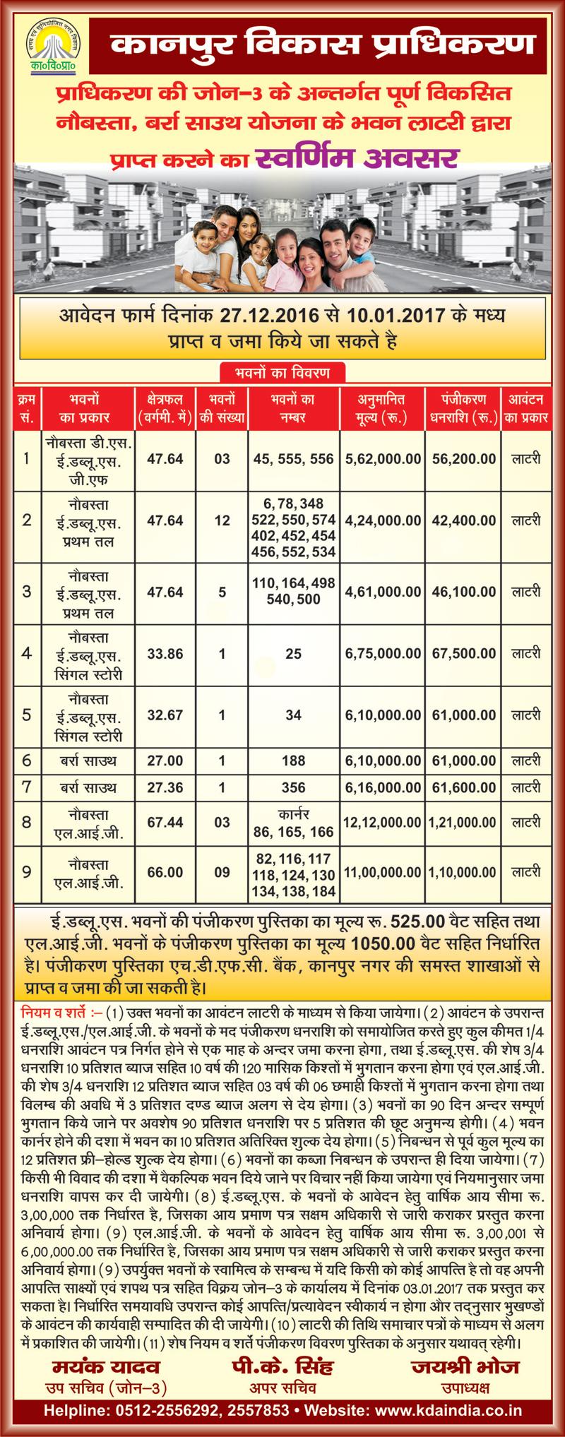 Kda Kanpur Naubasta Barra South Scheme For Ews Lig Flats