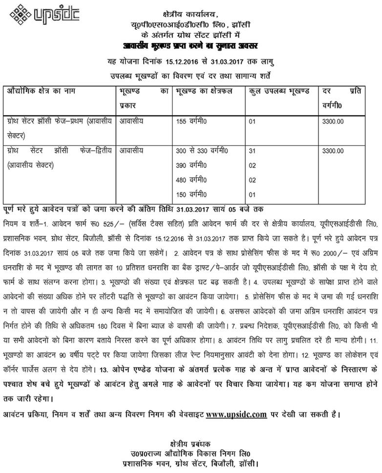 UPSIDC Plot Scheme Jhansi