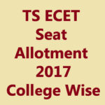 TS ECET Seat Allotment 2017 College Wise