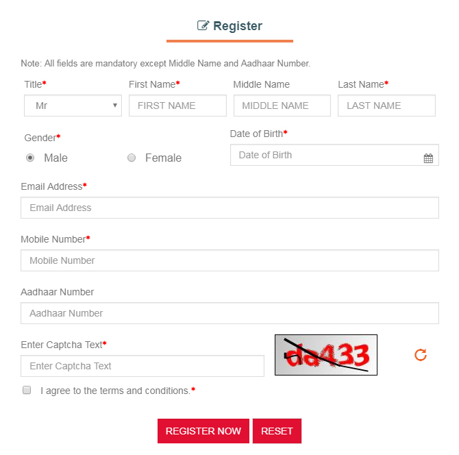 Candidates Registration Form