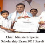 Chief Minister Special Scholarship Exam 2017 Result Assam
