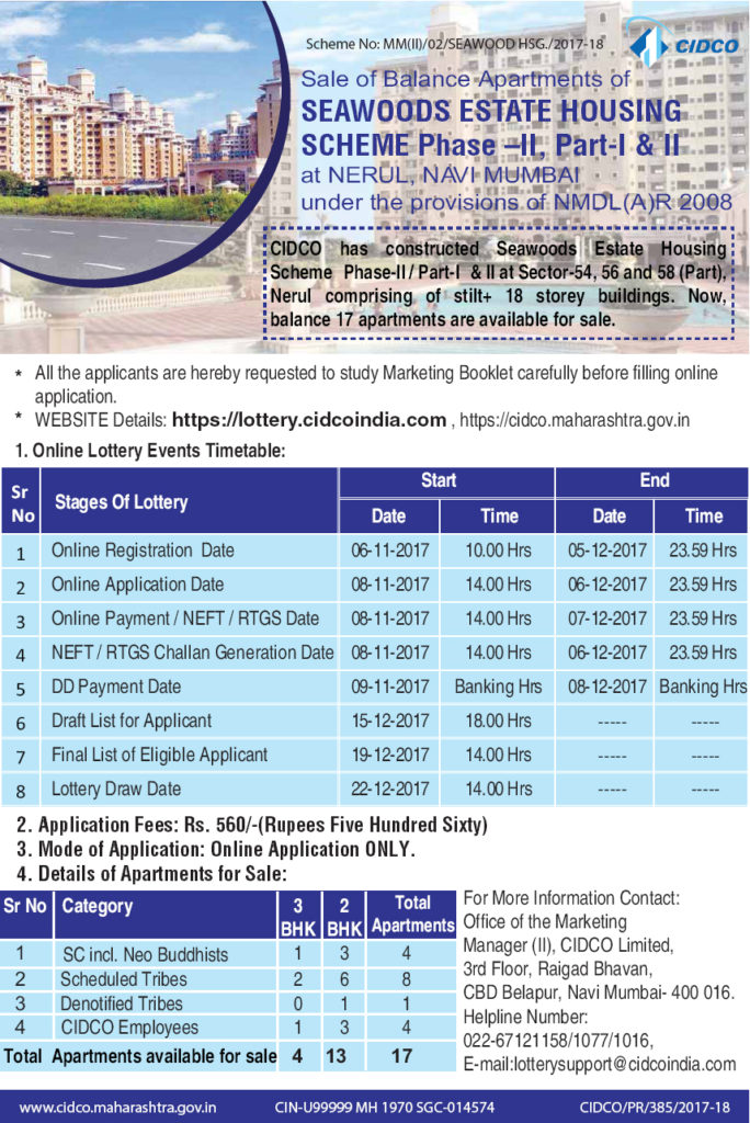 CIDCO Navi Mumbai Lottery 2017 Advertisement