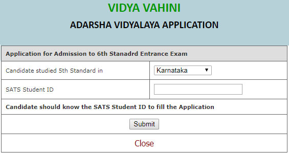 Adarsha Vidyalaya Application Form
