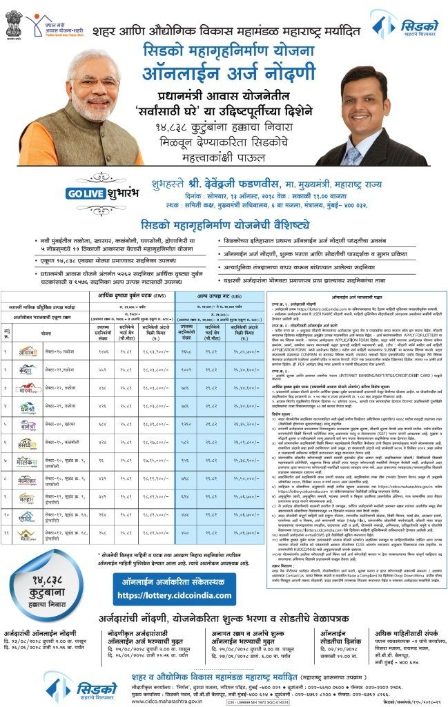 CIDCO Lottery 2018 Advertisement
