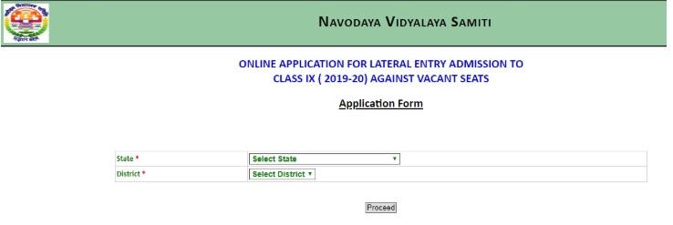 Jawahar Navodaya Vidyalaya Admission Form 2019