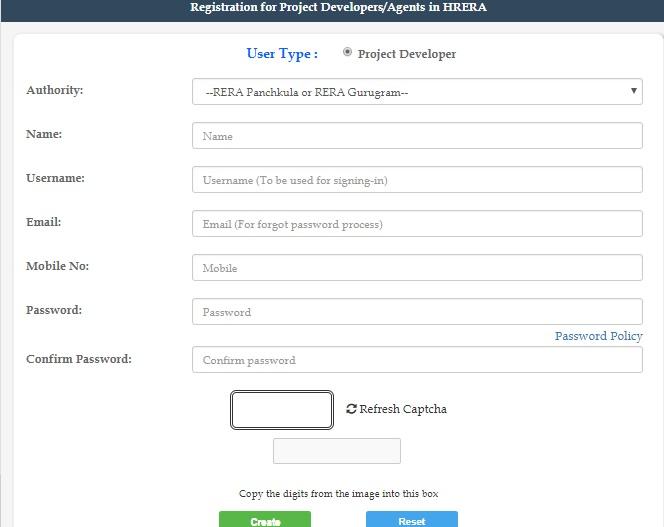 RERA Registration Online Haryana