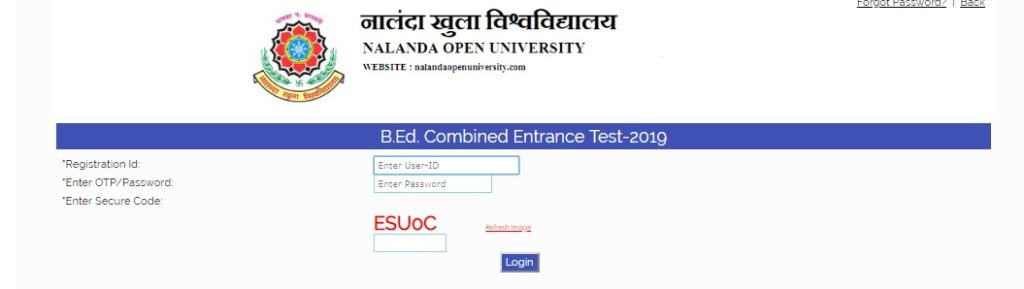 Bihar B.Ed Entrance Exam 2019 Login