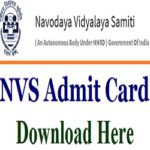 NVS Admit Card 2019 Class 9th