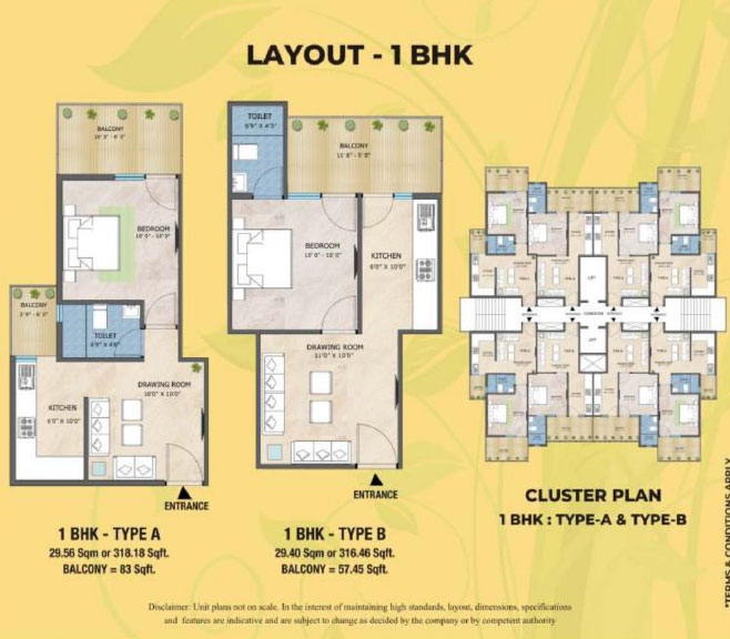 S3 Green Avenue 1BHK Floor Plan