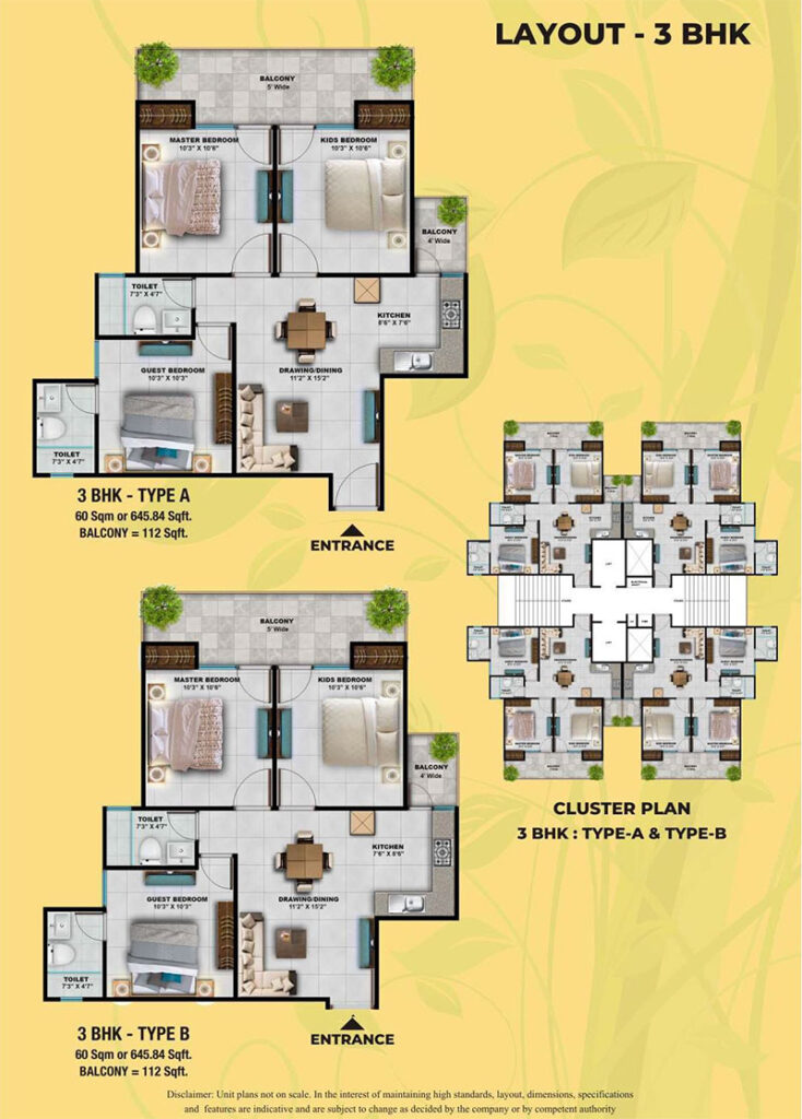 S3 Green Avenue 3BHK Floor Plan