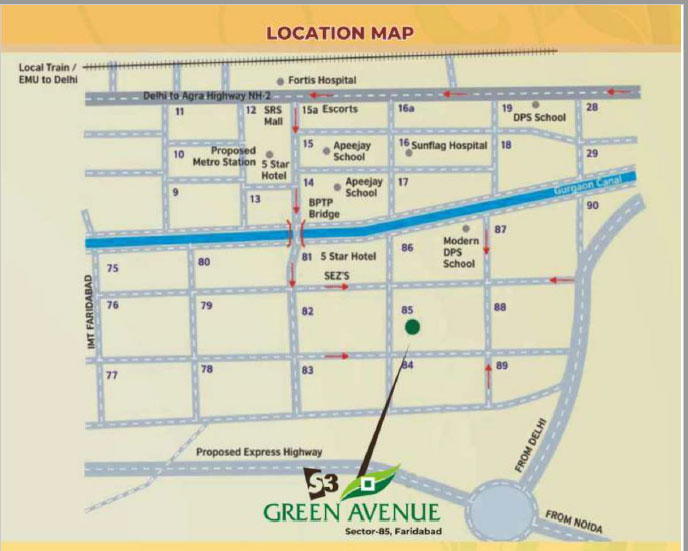 S3 Green Avenue Faridabad Location Map