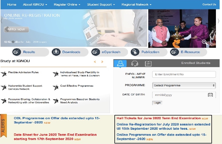 IGNOU Home page