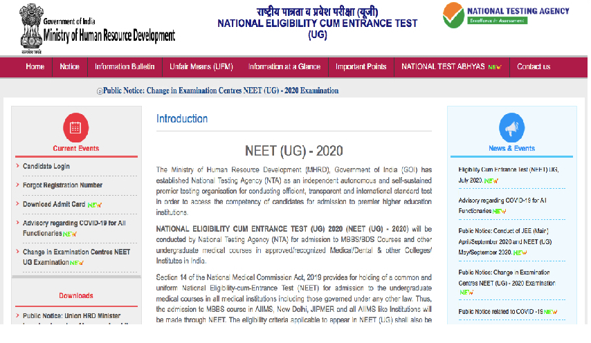 NEET home page