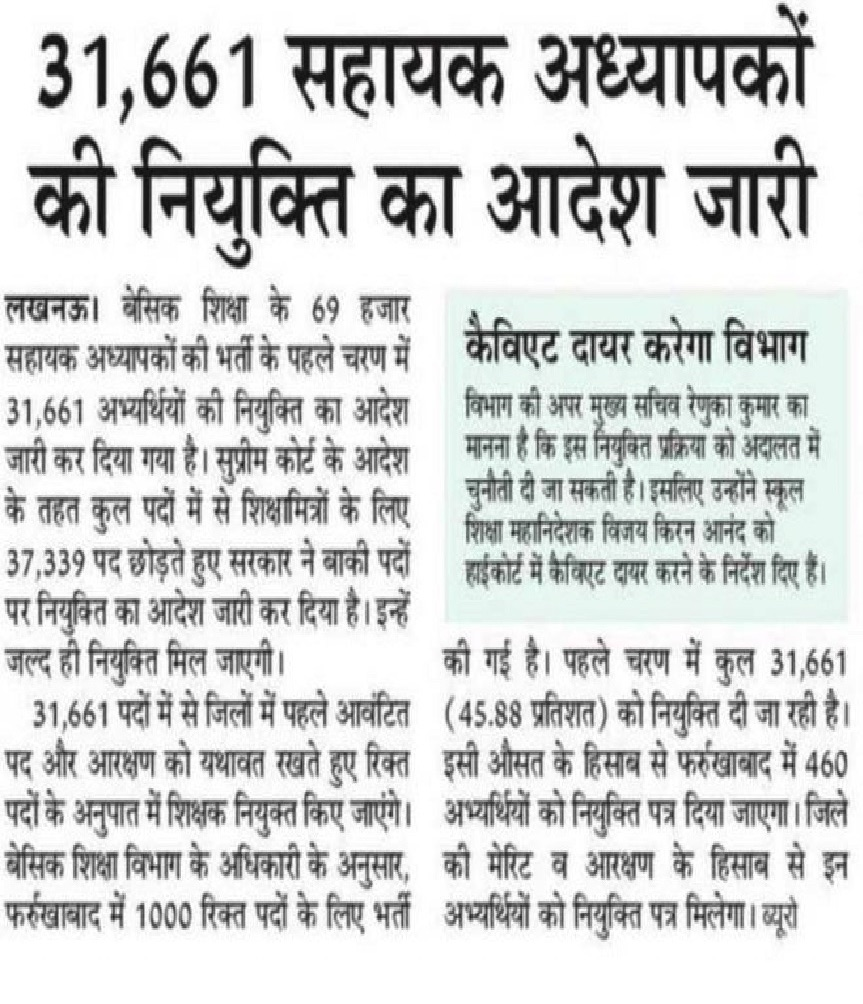 up shikshak bharti merit list news