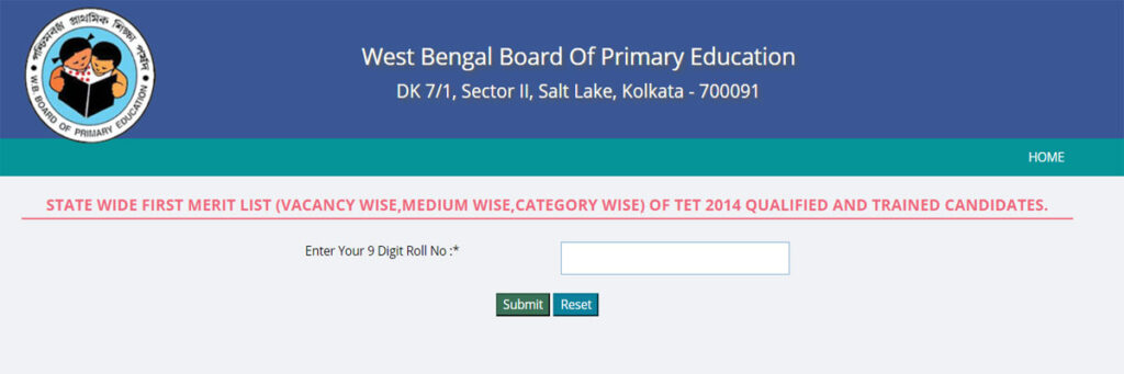 West Bengal TET Result Merit List