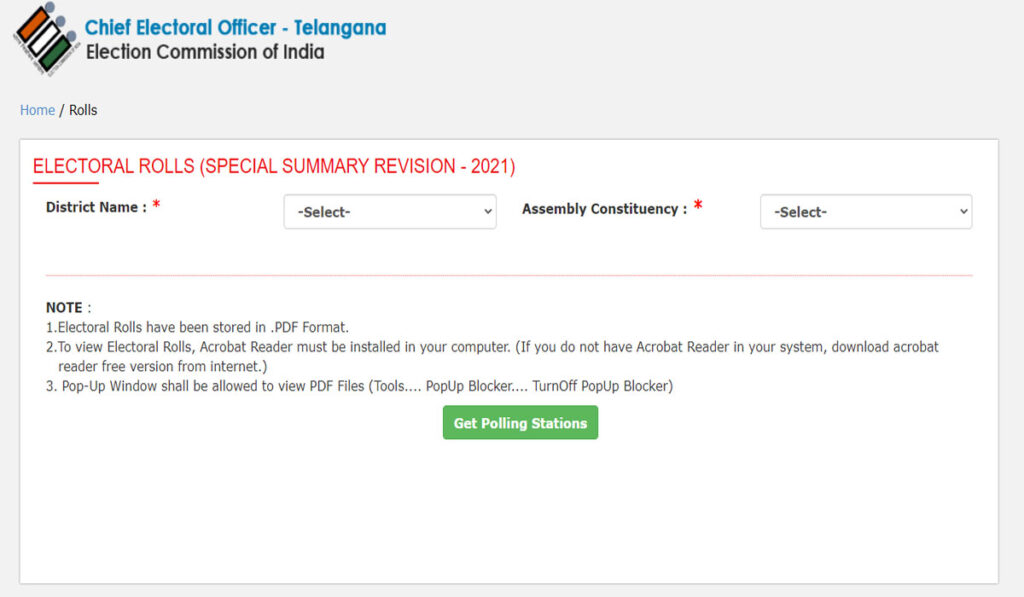 Electoral Roll SSR  Telangana Voter List with Photo