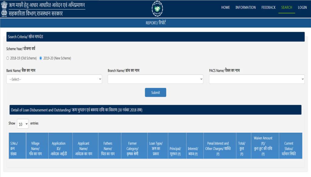 Search Rajasthan Kisan Karj Mafi Yojana beneficiary list