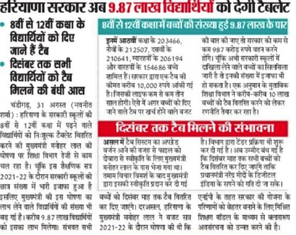 Haryana Free Tablet Yojana for Govt. School Students