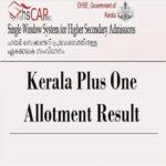 hscap.kerala.gov.in Plus One Allotment Result
