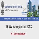 WB GNM Nursing Merit List